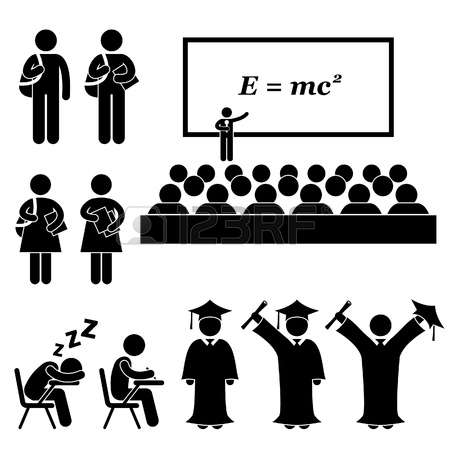 20283632-student-lecturer-teacher-school-college-university-graduate-graduation-stick-figure-pictogram-icon